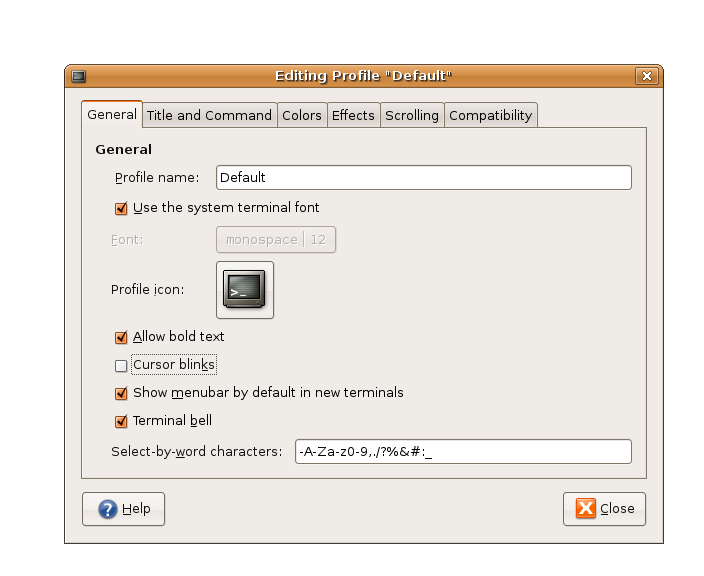GNOME Terminal Settings in Ubuntu 6.06